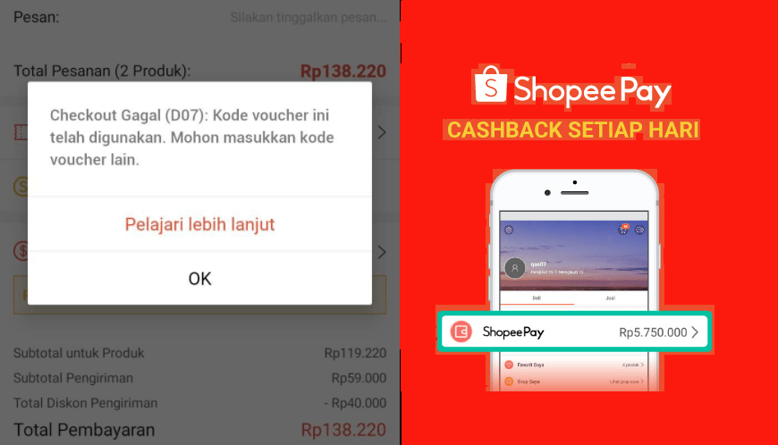 shopee error gagal checkout