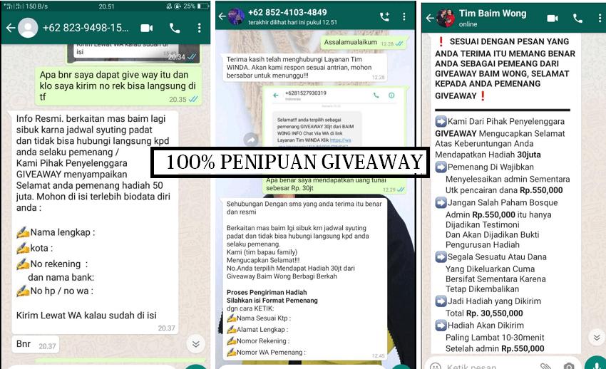 penipuan giveaway mengatasnamakan baim wong