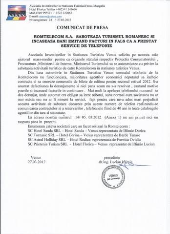 Romtelecom saboteaza turismul romanesc
