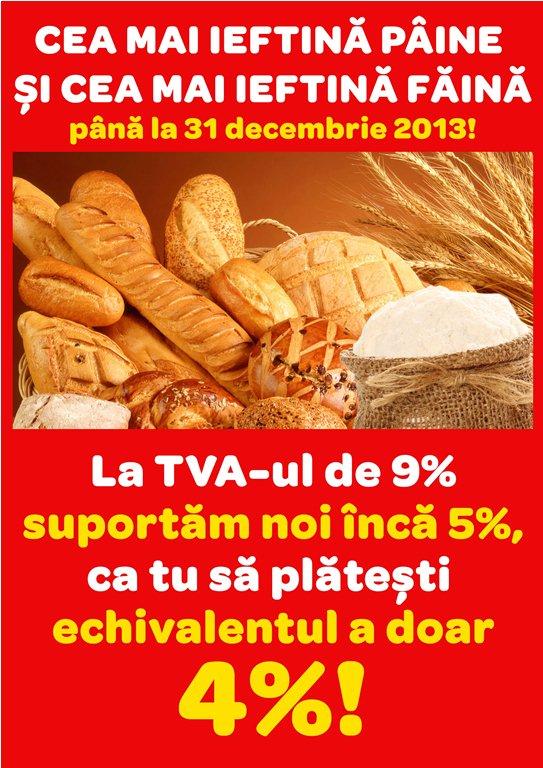 Carrefour aplică noul TVA de 9% la pâine și făină și ieftinește suplimentar prețul final printr-o reducere de 5%, clienții plătind echivalentul a 4% TVA