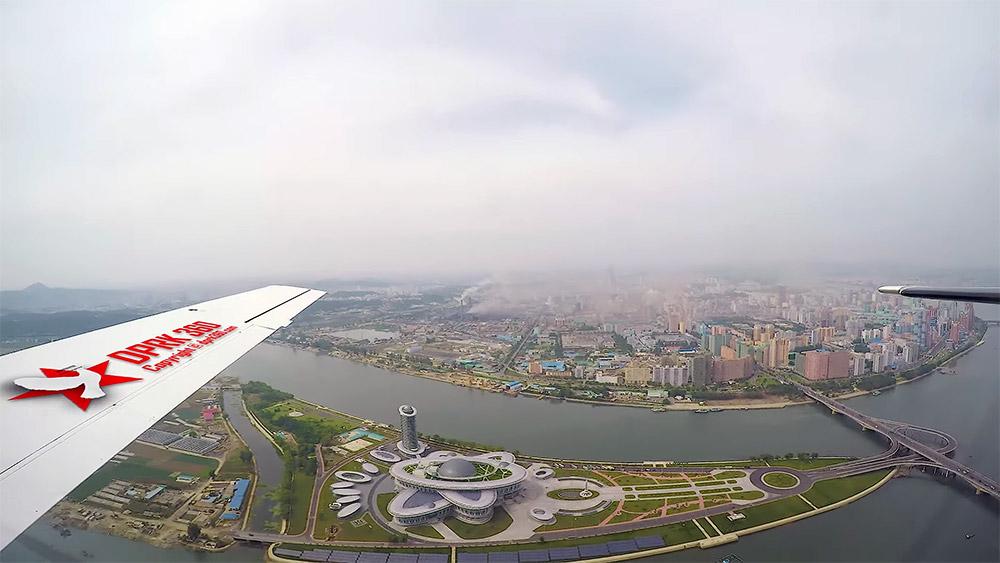 Imagini din avion cu Phenian capitala Coreei de Nord