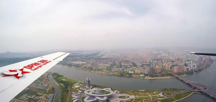 Imagini din avion realizate cu Pyongyang capitala Coreei de Nord