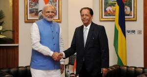 The Prime Minister, Shri Narendra Modi and the and Prime Minister of Mauritius, Sir Anerood Jugnauth at the One to One meeting, in Mauritius on March 11, 2015.