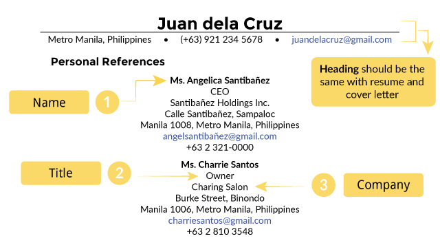 how to create professional references sheet