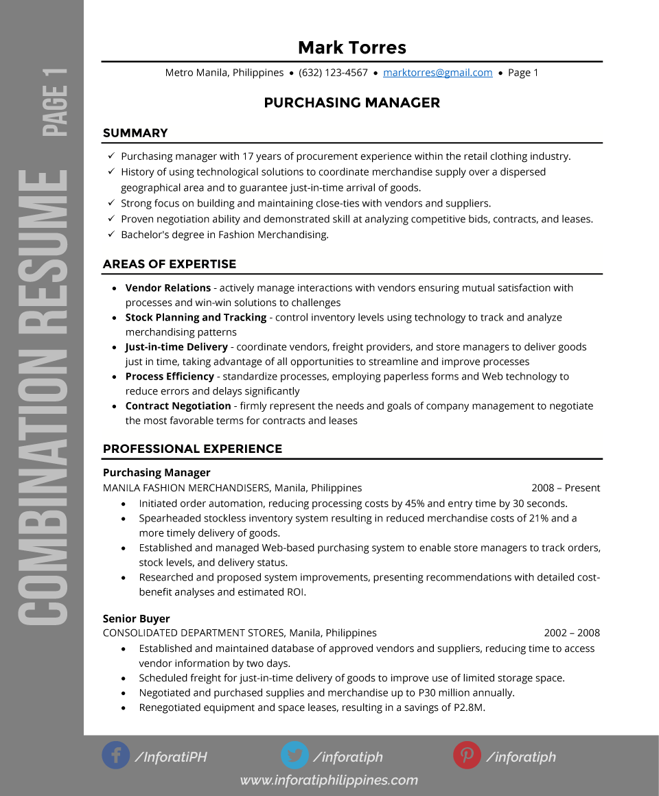 combination resume types by format page 1