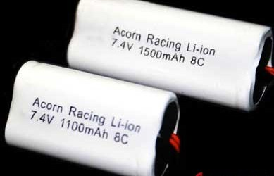 Packs de 1100 y 1500 mah de Acorn Racing LiIo