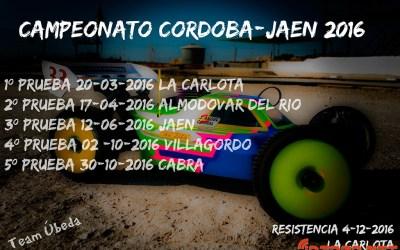 Calendario - Campeonato Córdoba Jaén 1/8 TT Gas 2016
