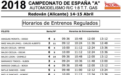 Nacional A 1/8 TT Gas Redovan - Horarios de entrenamientos regulados