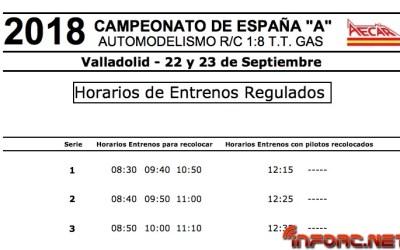 Horarios y distribución de pilotos en entrenamientos del Nacional A 1/8 TT en Valladolid