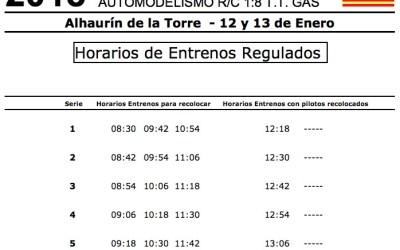 Nacional A 1/8 TT Gas 2018 V2 en Alhaurín. Distribución de pilotos y horarios de entrenos