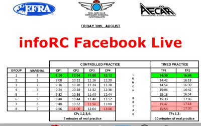 EFRA Euro 1/8-e Off Road Championship. Facebook Live horarios / schedules