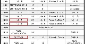 Nacional A 1/8 TT-N San José - Horarios de finales y directos del Domingo