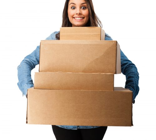 happy young woman with boxes