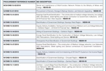 Ministry of Mines & Energy – Procurement Management Unit Tenders