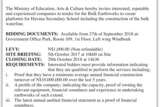 Ministry of Education Arts & Culture Invitation to Bid Bulk Earthworks for Platforms at Havana Secondary School