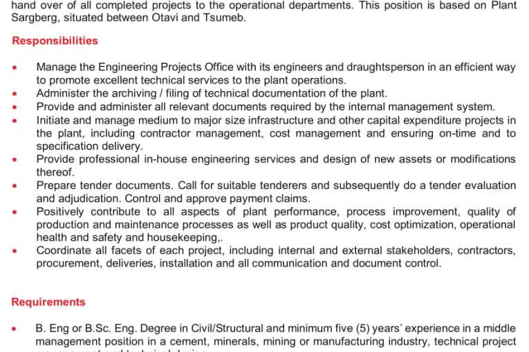 Ohorongo Cement Vacancies