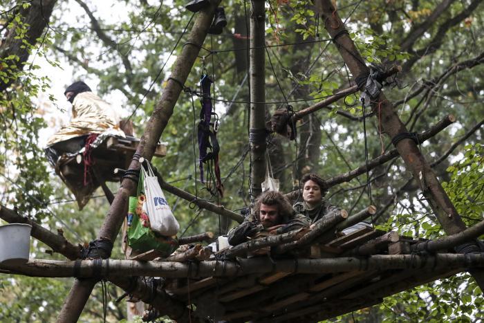 I Hambachskoven i det vestlige Tyskland har unge slået lejr i skoven for at forhindre myndighederne i at bruge området til kulminedrift.