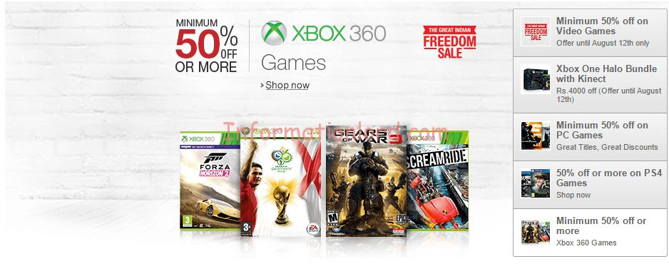 Amazon India Freedom sale Games, Games discounts amazon india
