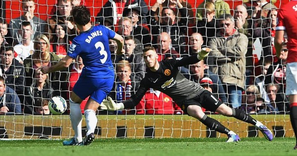 David de Gea Saves Leighton Baines' Penalty in United's Win Over Everton. Image: Getty.