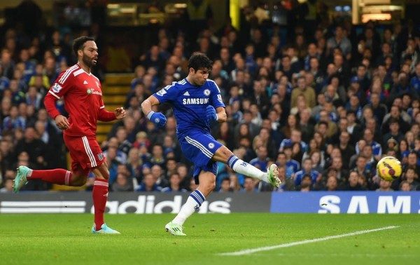 Diego Costa Converts His 11th Goal of the 2014-15 Season. Image: Getty.