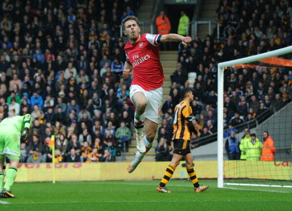 Aaron Ramsey Celebrates His Goal Against Hull City With a Fist Pump. Image: Getty.