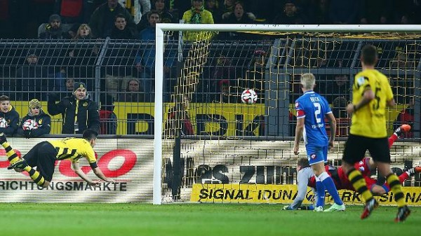 Ilkay Gundogan's Diving Header Sealed a Much-Needed Victory for Dortmund in a League Game this Season. Image: Reuters.