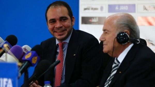 Jordanian FA President and Fifa Vice-President for Asia Prince Ali Bin Al Hussein (L) Declares for Fifa Top Job. Image: Getty.