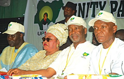 UNITY PARTY OF NIGERIA (UPN) DEPUTY NATIONAL CHAIRMAN, ALHAJI ABDULLAHI RABIU-KURA (LEFT); ITS LAGOS STATE GOVERNORSHIP CANDIDATE, MRS. DUPE ONITIRI-ABIOLA; NATIONAL CHAIRMAN, DR. FREDRICK FASHEUN DURING ITS CONVENTION WHERE THE PURPORTED ADOPTION OF DR. GOODLUCK JONATHAN TOOK PLACE