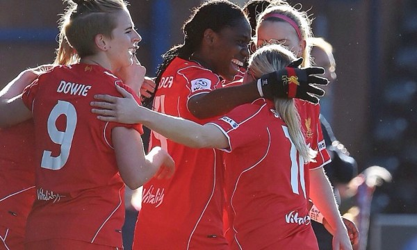 Oshoala Celebrate With Team-Mates at the Select Security Stadium. Image: LFC.