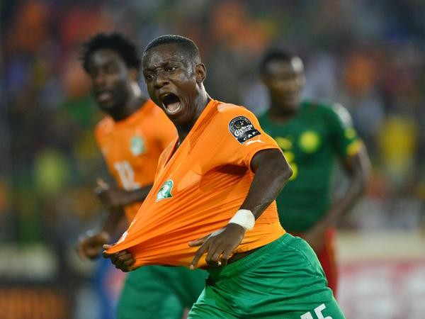 Max Gradel Celebrates Scoring for Ivory Coast. Image: Getty.