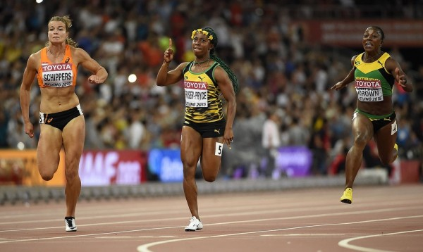 Shelley-Ann Fraser-Pryce Claims Women's 100m Gold for the Third Time in Beijing. Image: Getty via Guardian Sport.
