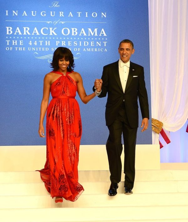 WASHINGTON, DC - JANUARY 21:  U.S. President Barack Obama and first lady Michelle Obama arrive together for The Inaugural Ball at the Walter E. Washington Convention Center on January 21, 2013 in Washington, United States.  (Photo by Michael Kovac/WireImage)
