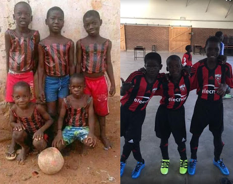 The African kids pictured wearing plastic bag jersey now rocking real ones (See photos)