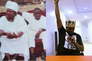 Ice Prince shares a throwback photo of him rocking sneakers on native seating next to his late mum