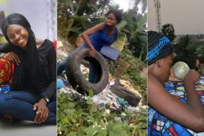 Nigerian Lady Creates Beautiful Brand New Furniture With Condemned Tyres Gotten From Dustbins (Photos)
