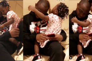 Davido Allows His Daughter To Comb His Hair, As He Kisses Her In Cute Photos