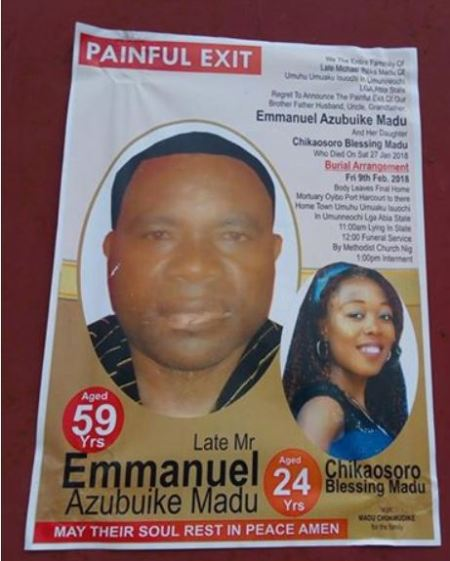 heartbreaking burial photo of father and daughter electrocuted to death in port harcourt - Heartbreaking! Burial Picture Of Father And Daughter Electrocuted To Demise In Port Harcourt