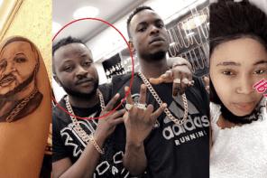 Nigerian Big Boy Dumps Girlfriend Who Tattooed His Face On Her Arm.