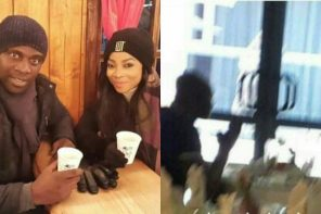 Toke Makinwa caught on camera having launch with her Ex-husband Maje Ayida