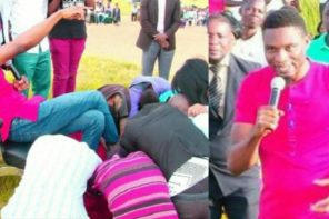 Nigerian man of God makes his church members lick his feet and shoes to get miracles