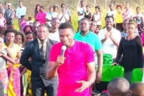 South African Based Nigerian Pastor's Members Lick His Shoes For Blessings (Pics)
