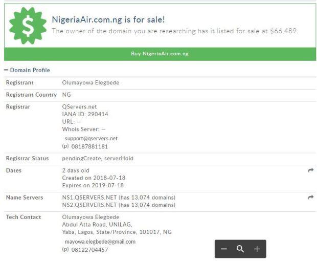 Image result for nigerian mayowa adopted nigerian air domain name