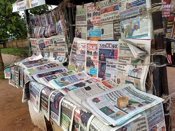 Newspaper stand - Nigerian Newspaper Headlines Today: 16th February