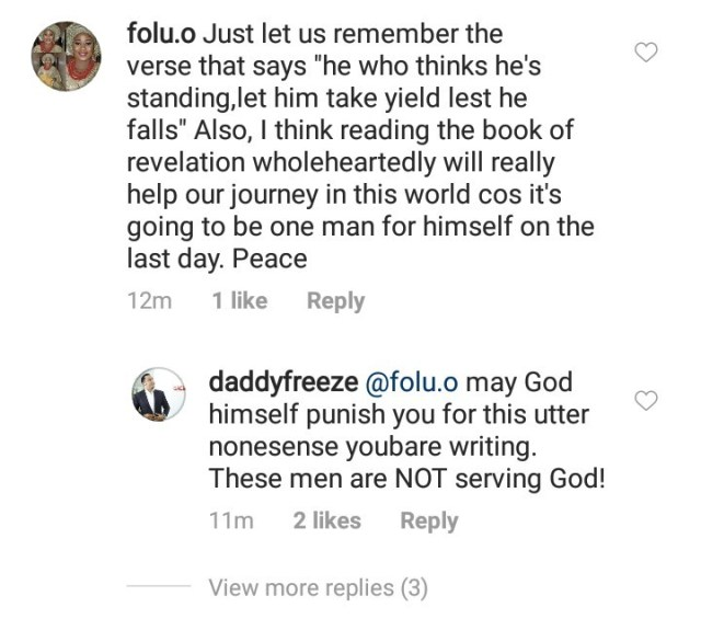 Daddy Freeze calls out a woman who politely cautioned him