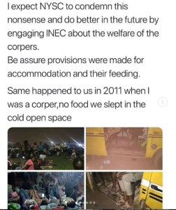 1 13 - This is a clear case of mental and physical abuse – Debola Lagos reacts to photos of corp members sleeping on cold floor