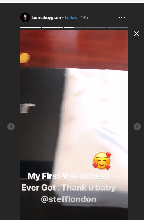 1 18 - Burna Boy shows off his first ever Valentine's day gift