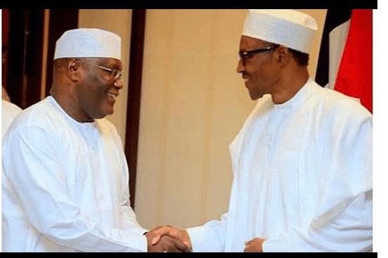1 56 - #NigeriaDecides: Buhari 'flogs' Atiku in Obasanjo's polling unit