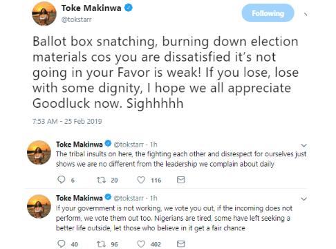 1 63 - iI hope we all appreciate Goodluck Jonathan Now – Toke Makinwa speaks on election violence