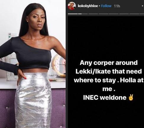 5c68a0e2459fc - BBNaija's Khloe offers accommodation to stranded corp members