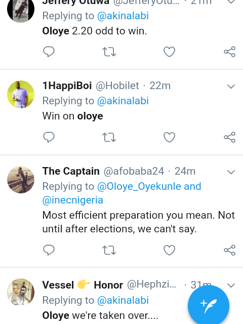 Screenshot 20190223 0903512 - #NigeriaDecides: 'Oloye 2.20 odds to Win' – See What Nigerians are Saying About Akin Alabi